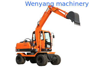 China 0.25m3 bucket XY65W-8 6ton small wheel excavator with gear pump for sale supplier