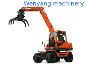China 360° rotation small round log sugarcane pick up machine wheel excavator with grapple supplier