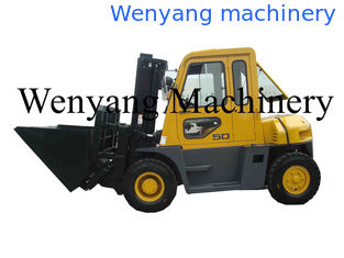 China China made forklift attachments dumping bucket  mounted on 5ton diesel forklift truck with cab supplier