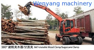 China good quality 360° rotation small round log wheel excavator with grapple supplier