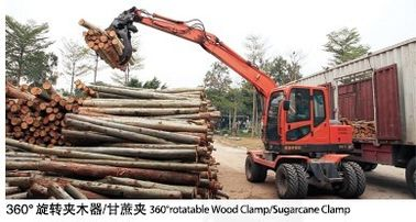 China good quality 360° rotation small round log wheel excavator with grapple distributor