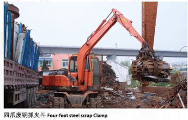 China good quality Recyclable scrap equipment wheel excavator with four foot steel scrap clamp factory