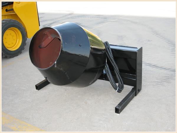 Cement mixer attachment for skid skid steer loader/wheel loader