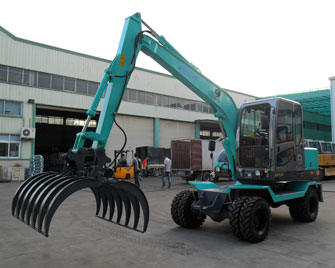 WY75W-9 0.3m3 bucket hydraulic wheel digger with Yuchai supercharged engine and plunger pump