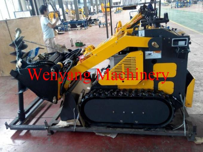 mini track skid steer loader with 4 in 1 bucket with earth auger